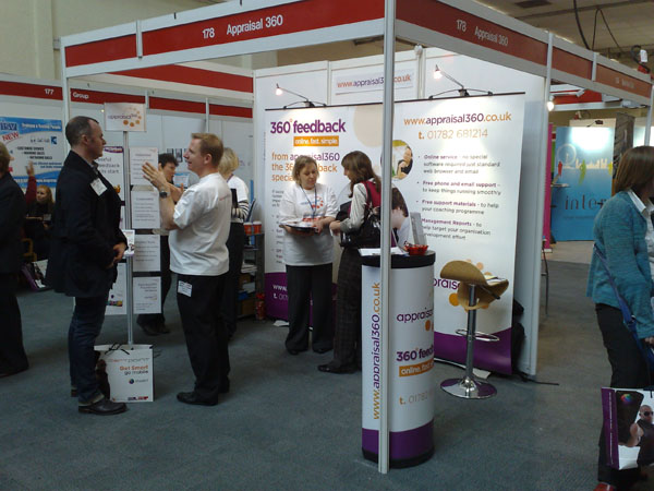 Appraisal360, Mike Lewis, Lynda Holt, 360 degree feedback Learning and Skills Show 2010 - talking to customers on the stand