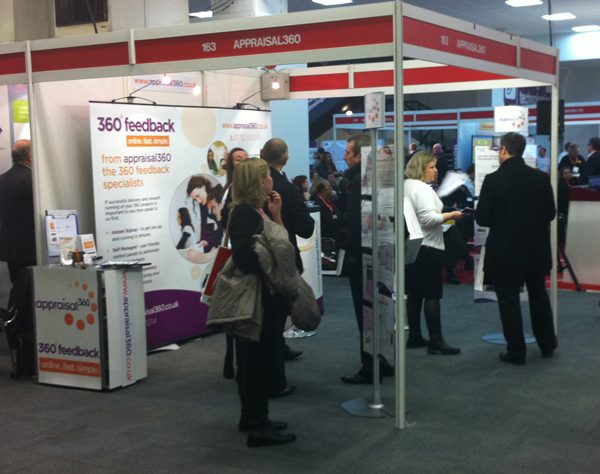 Appraisal360, Lynda Holt, Caroline Taylor, 360 feedback Learning and Skills 2011 - talking to 360 degree feedback customers on the stand at the Learning and Skills show, Olympia