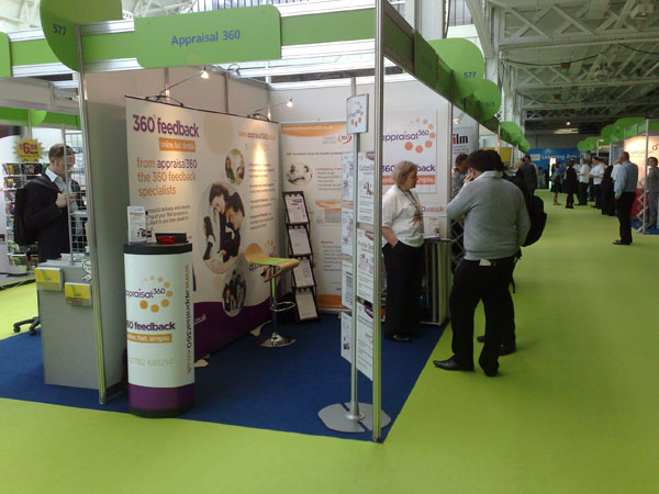 Appraisal360, Lynda Holt, 360 degree feedback HRD2010 - talking to customers on the stand at Olympia